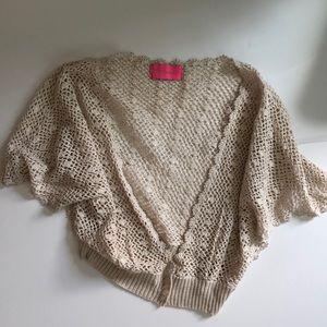 Betsey Johnson Cotton metallic Lace Shrug